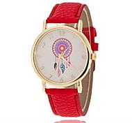 Недорогие -Жен. Модные часы Кварцевый Повседневные часы PU Группа Цветы Блестящие Черный Белый Красный Зеленый Фиолетовый Желтый