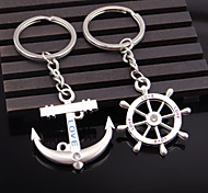 A Pair Rudder Anchor Crystal Lovers' Key Chains Couple Key Ring Fashion Keychains Keyrings Jewelry