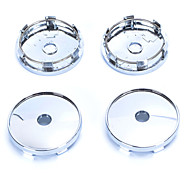 4 Pcs Silver Tone Plastic 60mm Dia Car Hood Emblem Wheel Center Hub Caps Covers