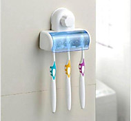 cheap -Plastic 5 Set Toothbrush Spinbrush DIY Wall Holder Suction Stand Bathroom