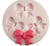 Flores Três Buracos bowknot Rodada Silicone Mold Fondant Moldes Sugar Craft Ferramentas Resina Mould moldes para bolos
