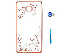 cheap -Case For Samsung Galaxy Rhinestone Plating Transparent Pattern Back Cover Flower Hard TPU for A9 A8 A7 A5