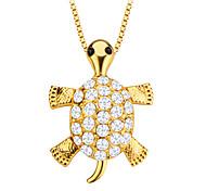 милые черепахи животное кристаллические ювелирные изделия кулон золото 18k покрыло мужчины / женщины подарок p30138