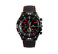 cheap -Men's Quartz Wrist Watch Large Dial Silicone Band Sports Black