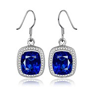 2016 Nobe Fine Platinum Plated Blue Sapphire CZ Drop Earrings For Women
