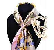 cheap -HUALUO®European and American fashion scarf buckle Korean high-grade diamond brooch Ms. hollow buckle shawl accessories