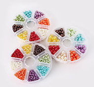 Beadia 1Set Plastic Pearl Beads 4/6/8mm Round ABS Pearls Mixed Colors DIY Beads Kit For Children