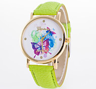Women's Fashion Watch Quartz Leather Band Casual Black White Blue Red Brown Green Yellow