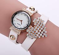 preiswerte -Damen Quartz Armband-Uhr Armbanduhren für den Alltag Leder Band Blume Modisch Schwarz Weiß Blau Orange Braun Rosa