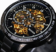 cheap -WINNER Men's Wrist Watch / Mechanical Watch Water Resistant / Water Proof / Hollow Engraving / Luminous Stainless Steel Band Luxury / Vintage Black / Silver / Automatic self-winding / Tachymeter