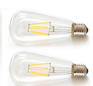 6W E26/E27 LED Filament Bulbs ST64 6pcs Filament COB COB 600lm Warm White 2200K Decorative AC 85-265V