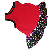 abordables -Chien Robe Vêtements pour Chien Points Polka Cœur Noir / Rouge Coton Costume Pour les animaux domestiques Eté Femme Mode