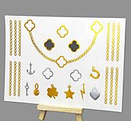 Недорогие -новый горячего тиснения моды безопасные нетоксичные большой размер Гавайский текстуры металла ожерелье наклейки водонепроницаемый
