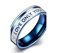 """lureme® Stainless Steel """"LOVE ONLY YOU"""" Promising Ring - Blue Tone"""