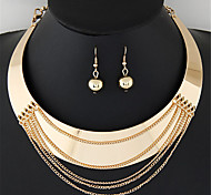 Women European Style Fashion Exaggerated Punk Street Shooting Tassel Choker Necklace Earring Set