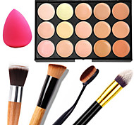 1PCS 15 Colors Professional Natural Contour Face Cream/Facial Concealer Makeup Palette+1 Contour Brush+1 Powder Puff