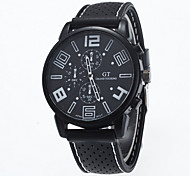abordables -Hombre Cuarzo Reloj de Pulsera Reloj Casual Silicona Banda Encanto Negro