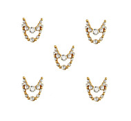 10pcs Gold Necklace Dangles with Clear Rhinestone 3D Charm Alloy Nail Art Decoration