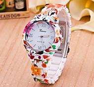 Women's Fashion Watch Quartz Plastic Band Flower Multi-Colored