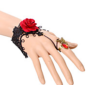 Gothic Style Black Lace Flower  Ring Bracelet for Lady Body Jewelry