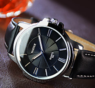 YAZOLE Homens Relógio Elegante Quartzo Relógio Casual Noctilucente Couro Banda Preta Marrom