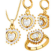Women's Jewelry Set Party Love Fashion Wedding Party Zircon Cubic Zirconia Gold Plated Rings Earrings Necklaces