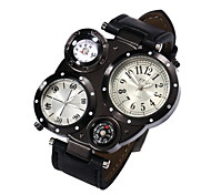 Men's Black Case PU Leather Band Military Watch with Dual Time Zones Compass and Thermometer Wrist Watch Cool Watch