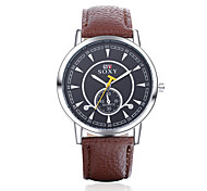 Men's Fashion Round Leather Wristwatches Glass Analog Quartz Watch Casual Business Style Relogio Masculino