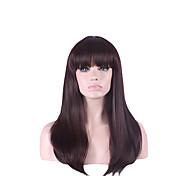 Недорогие -жен. Парики из искусственных волос Без шапочки-основы Прямые Естественные прямые С чёлкой Парик для Хэллоуина Карнавальный парик