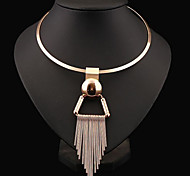 cheap -Women's Circle Shape Tassel Statement Jewelry Fashion European Choker Necklace Statement Necklace Sterling Silver Alloy Choker Necklace