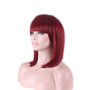 cheap -Synthetic Wig Straight Bob Haircut Red Women's Capless Wig Short Medium Synthetic Hair