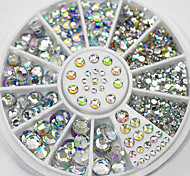 4 Size 280pcs Nail Art Tips Crystal Glitter Rhinestone Decoration Wheel