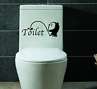 cheap -Fashion Bathroom Penguin Toilet Stickers DIY Environmental WC Wall Stickers