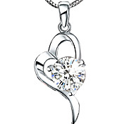 cheap -Women's Heart Sterling Silver Crystal Silver Pendant Necklace  -  Love Heart White Purple Necklace For Wedding Birthday Thank You