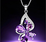 Women's Pendant Necklaces Crystal Butterfly Animal Four Leaf Clover Alloy Sexy Jewelry For Daily Casual