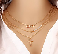 cheap -Women's Cross Infinity Gold Plated Pendant Necklace  -  Multi Layer Fashion Infinity Golden Necklace For Party Daily Casual
