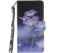 Painted Blue Flowers Pattern Card Can Lanyard PU Phone Case For Samsung Galaxy G530 G360 J1 J3 J5 (2016)