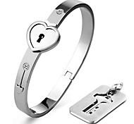 Necklace/Love Bracelet/Bangle,Lock Silver Bracelet with Key Pendant Necklace 316L Stainless Steel Bracelet Jewelry for Couples Christmas Gifts