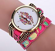 Women's Bohemian Style Fabric Band White lip Mouse Case Analog Quartz Layered Bracelet Fashion Watch
