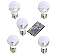 YWXLight® 3W E14 GU10 E26/E27 LED Globe Bulb 150-250lm RGB Infrared Sensor Dimmable Remote-Controlled 5pcs AC 85-265V