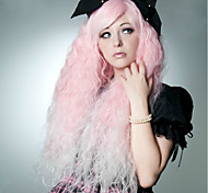 90CM Pink Water Wave Cosplay Fashion Club Night Women's Synthetic Wig 400G Long Length Anime Costume Wigs