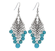 cheap -New Design Drop Dangle Earring Bohemian Ethnic Style Vintage Silver Long Earrings Jewelry Fashion Turquoise Earrings