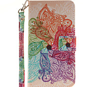 Painted Colorful Flowers Pattern Card Can Lanyard PU Phone Case For LG G3 G4 G5 K7 K8 K10