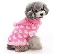 Коты Собаки Свитера Толстовки Одежда для собак Зима Сердца Милые Мода Сохраняет тепло Синий Розовый