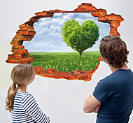 3D Love Heart Tree Broken Wall Design 3D Wall Stickers New Fashion Living Room Wall Decals