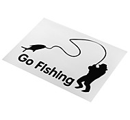ZIQIAO Cartoon Car Atyling Fashion Black / White Old People Go Fishing Auto Parts Decorative DIY Car Stickers