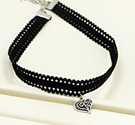 Women's Choker Necklaces Pendant Necklaces Heart Drop Four Leaf Clover Rhinestone Fabric Alloy Love European Fashion Jewelry For Party