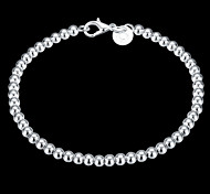 cheap -Women's Sterling Silver Chain Bracelet Charm Bracelet - Classic Crossover Beaded Circle Jewelry Silver Bracelet For Christmas Gifts