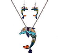 baratos -Mulheres Conjunto de jóias - Prata de Lei, Resina Personalizada, Vintage Incluir Colar / Brincos Prata / Verde Para Diário / Casual / Trabalho / Colares
