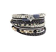 Fashion Women Multi Rows Stone Set Star Leather Wrap Bracelet
